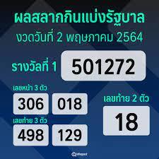 ผลรางวัลสลากกินแบ่งรัฐบาล งวดวันที่ 2 พฤษภาคม 2564 : อินโฟเควสท์
