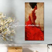 Living Room Paintings Art Elegant Women Painting Art Red Dress Women Wall Decoration
