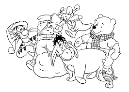 Christmas Winnie And Friends Coloring Pages