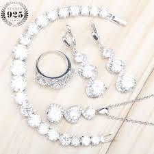 925 sterling silver women jewelry sets white zircon earrings with stones necklace pendant earrings rings bracelets