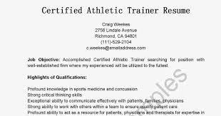 Athletic Trainer Resumes Acepeople Co