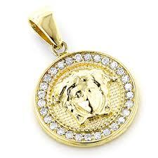 14k gold vintage versace style diamond pendant medusa medallion 2ct main image
