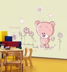 Adesivi murali bambini gattino e fiorellino con cuoricini gatto