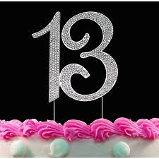 13th Birthday Cake Toppers Silver Bling Cake Topper 13 Birthday