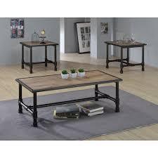 acme furniture caitlin rustic oak built in storage coffee table