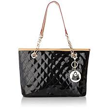 Black Quilted Handbags: Amazon.com & MG Collection Leryn Quilted Faux Patent Leather Bucket Handbag, Black, One  Size Adamdwight.com