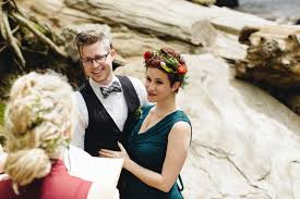 secular wedding ceremony scripts you can use when you get married officiant reading a wedding ceremony script to a couple in the woods