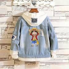 One Piece Anime Size Chart Details About Anime One Piece Cartoon Cute Luffy Denim Hoodie Jean Jackets Layered Cowboy Coat