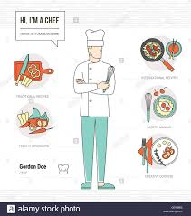 professional chef infographic resume and skill and thin line male professional chef infographic resume and skill and thin line male character