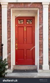 Red Front Door White Columns Door Stock Photo (Edit Now) 223610989 ...