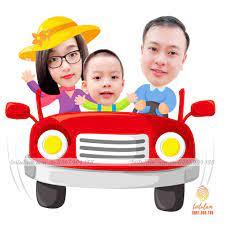 Chibi gia đình đi ô tô
