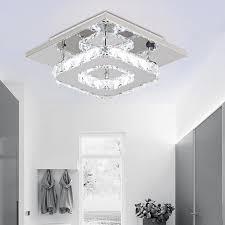 details about modern led crystal chandelier light 12w restaurant corridor square ceiling lamp