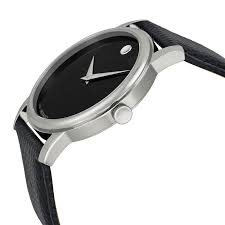 movado museum black dial black leather strap mens watch 2100002 885997018128 watch shape