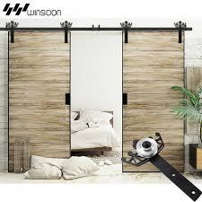 winsoon 5 18ft sliding barn door hardware aluminum rollers track kit cabinet closet crown design