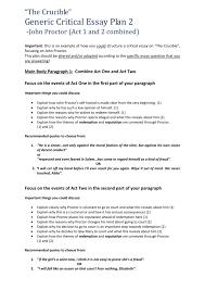 Generic Critical Essay Plan