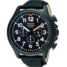 pulsar military black dial chronograph black leather strap mens pulsar military chronograph black dial leather strap mens watch pt3329