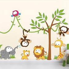 baby jungle animal characters for children room decor and baby s nurseries wall art decals and  on wall art stickers for childrens rooms with kids wall stickers nursery wall stickers by vinyl impression
