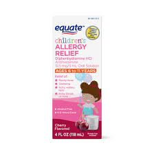 Equate Childrens Allergy Relief Diphenhydramine Hcl 12 5 Mg 5 Ml Oral Solution Antihistamine Cherry Flavor 4 Fl Oz Walmart Com