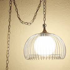 vintage hanging light hanging lamp metal cage glass globe in pendant light with chain