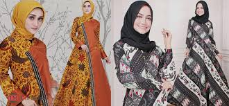 Model dan motif baju batik gamis bagi remaja tentunya disesuaikan dengan usia. 55 Model Baju Gamis Batik Cantik Terbaru Muda Co Id