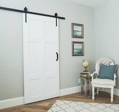 our clic 6 panel sliding barn door is timeless built to both look rustic and function as though made in the modern age it is beautiful in any setting