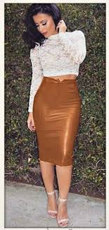 brown faux leather long fitted stretchy high waisted skirt
