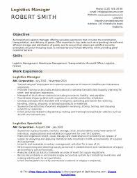 Logistics Management Resume Logistics Manager Resume Samples Qwikresume