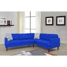 blue tufted right sectional sofa set 2 piece
