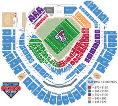 Petco Park Detailed Seating Chart Petco Park Seating Chart For The Tournament Showing The We