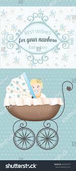 Newborn Congratulation Card Newborn Baby Boy Congratulations Vector Vintage Stock Vector
