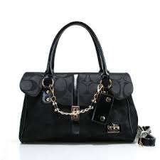 Coach Ring Chain Large Black Satchels FBY