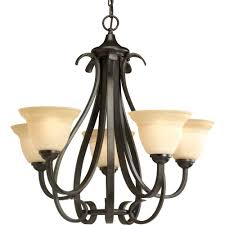 progress lighting torino 5 light forged bronze chandelier with tea stained glass shade