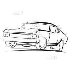 Car Outline Design Old Muscle Car Outline Sketch Old Muscle Cars Muscle Cars