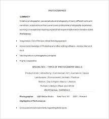Photography Resume Templates Photographer Resume Template 17 Free Samples  Examples Format Printable