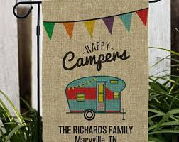 camping garden flag. Fine Camping Happy Camper Personalized Burlap Garden Flag Camping Garden Decor Home  Personalized Yard Flag Burlap Family Gfy830111622BDS In Camping Flag N