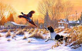 paintings frank mittelstadt getting up art nature winter snow hunting dog bird fly sunrise 5 sizes fabric canvas poster printed in painting calligraphy