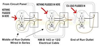 how to connect 2 ground wires 1 outlet except when there s nothing plugged into that receptacle like the example below where the first 2 receptacles are carrying the load downstream