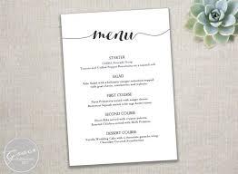 Dinner Menu Template Wedding Food Sample Kids Printable