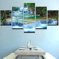 waterfall wall art canvas decor waterfalls 5 piece glass