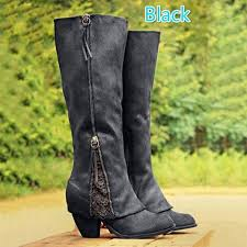 2017 new women fashion riding boots fold over design near ankle with lace detailing at edge plus size black knee high boots womens ankle boots leather boots