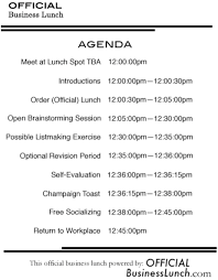 Agenda Business Official Business Lunch