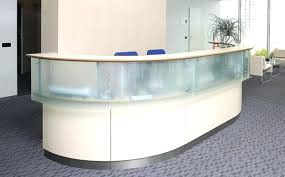 glass reception desk catchy curved front with real panels solid counter tops esquire double top