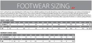 Giro Shoe Size Chart