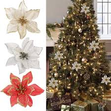 Poinsettia Christmas Tree Lights Uk Details About Red Glitter Poinsettia Christmas Tree Ornaments Artificial Flower Wedding Decor