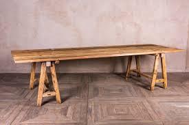 large vintage wooden trestle table