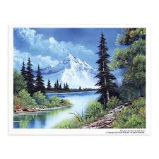set includes a full color photo of the bob ross painting mountain summit