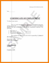 Example Of A Certificate Employment Unorthodox Format Sample Foundinmi