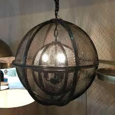 chandeliers rustic metal chandelier double sphere orb mesh cowshed electro bp barn rustic metal chandelier