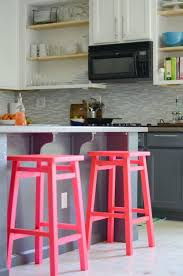 Furnitures:Kitchen Decor Idea With Gray Island And White Cabinet Also Neon  Pink Kitchen Bar