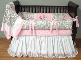 image of great pink and grey nursery bedding